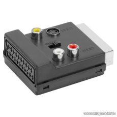 EURO / RCA átalakító, 3 RCA, S-VIDEO és EURO-SCART aljzat - EURO-SCART dugó (05393)