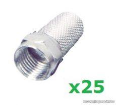 USE FF 1 F dugó csatlakozó, RG6-os koax kábelhez, csavaros kivitel, 25 db / csomag