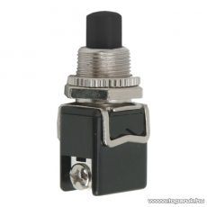 Nyomógomb, 1 áramkör, 4A-250V OFF-(ON), fekete, 5 db / csomag (09063FK)