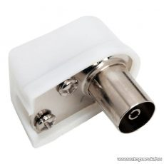 TV koax aljzat csatlakozó, 90 fok-os rövid kivitel, fehér, 10 db / csomag (05004)
