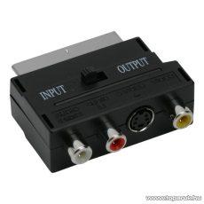 EURO / RCA átalakító, 3 RCA és S-VIDEO aljzat - EURO-SCART dugó (05172)
