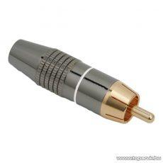 RCA dugó, aranyozott csatlakozó, max. 6 mm-es kábelhez, jelölőgyűrűvel, fehér (05087FH)