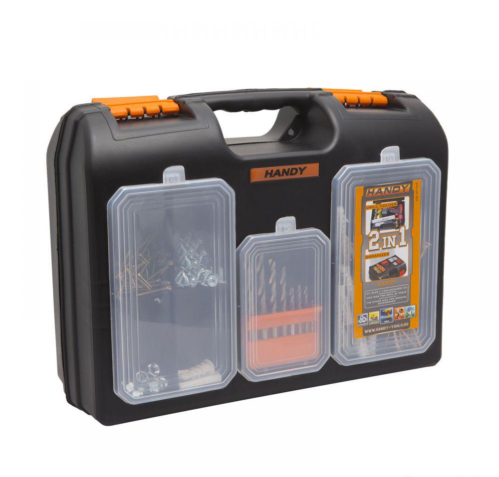 Image of 2 az 1-ben műanyag fúró + alkatrész tároló táska, 155 x 400 x 300 mm (10958)