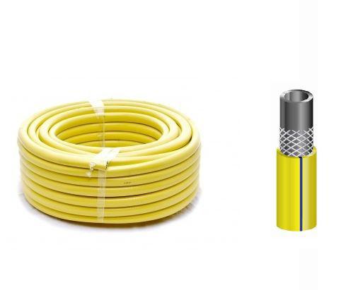 """Image of 3 rétegű csavarodásmentes locsolótömlő, 1""""-os, 25 m hosszú, sárga-zöld"""