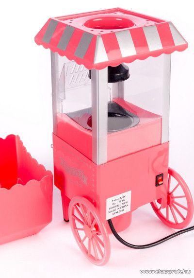 PINK Popcorn készítő kocsi, kukorica pattogtató készülék, rózsaszín