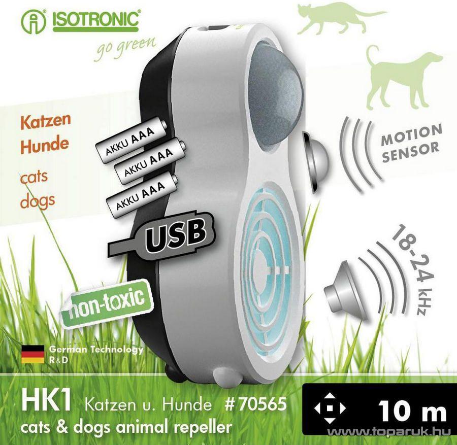 Isotronic HK1 Kültéri / Beltéri akkumulátoros ultrahangos kutyariasztó, macskariasztó mozgásérzékelővel (hatótávolság 10 m2)