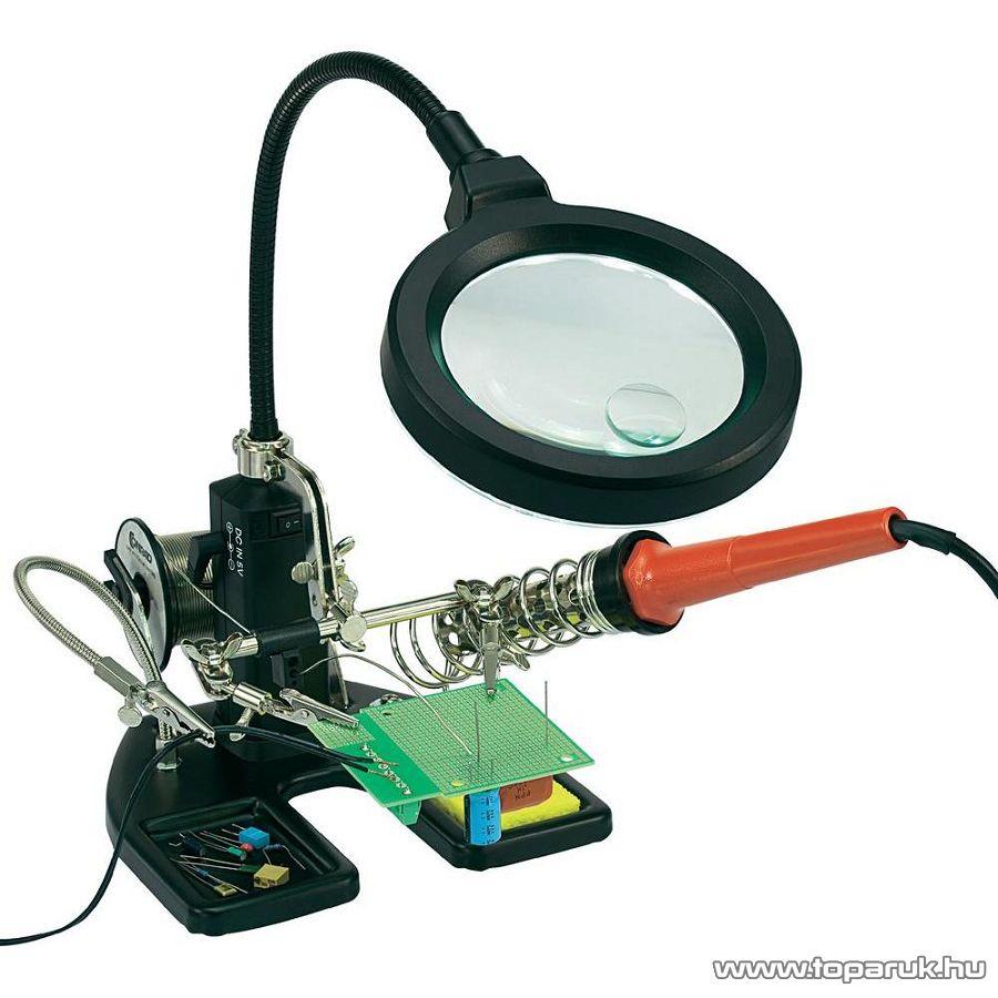 TOOLCRAFT 16 LED-del megvilágított asztali nagyítós lámpa harmadik kézzel és forrasztópáka tartóval, fekete - készlethiány
