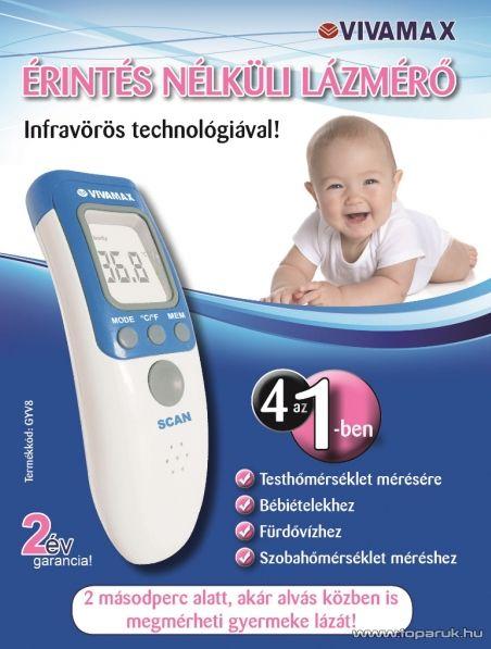 Vivamax GYV8 4 az 1-ben érintés mentes lázmérő infravörös technológiával - Megszűnt termék: 2015. November