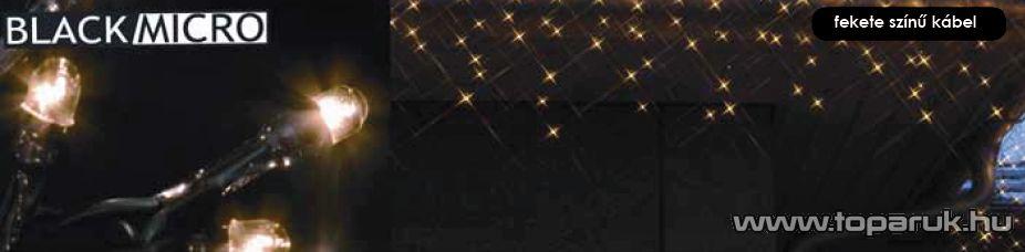 BLACK MICRO KSA 504 Kültéri Micro izzós jégcsapfüzér fekete kábellel, 200 x 40 cm, melegfehér - készlethiány