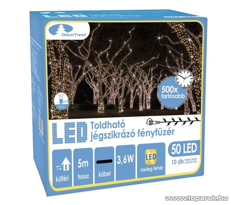 Design Dekor KDK 201 Kültéri toldható 50 LED-es jégszikrázó fényfüzér, 5 méter hosszú, meleg fehér fényű világítással, hideg fehéren csillanó LED-del