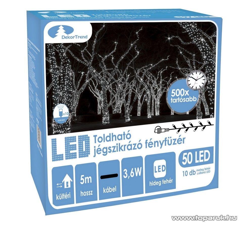 Design Dekor KDK 202 Kültéri toldható 50 LED-es jégszikrázó fényfüzér, 5 méter hosszú, hideg fehér fényű világítással, hideg fehéren csillanó LED-del
