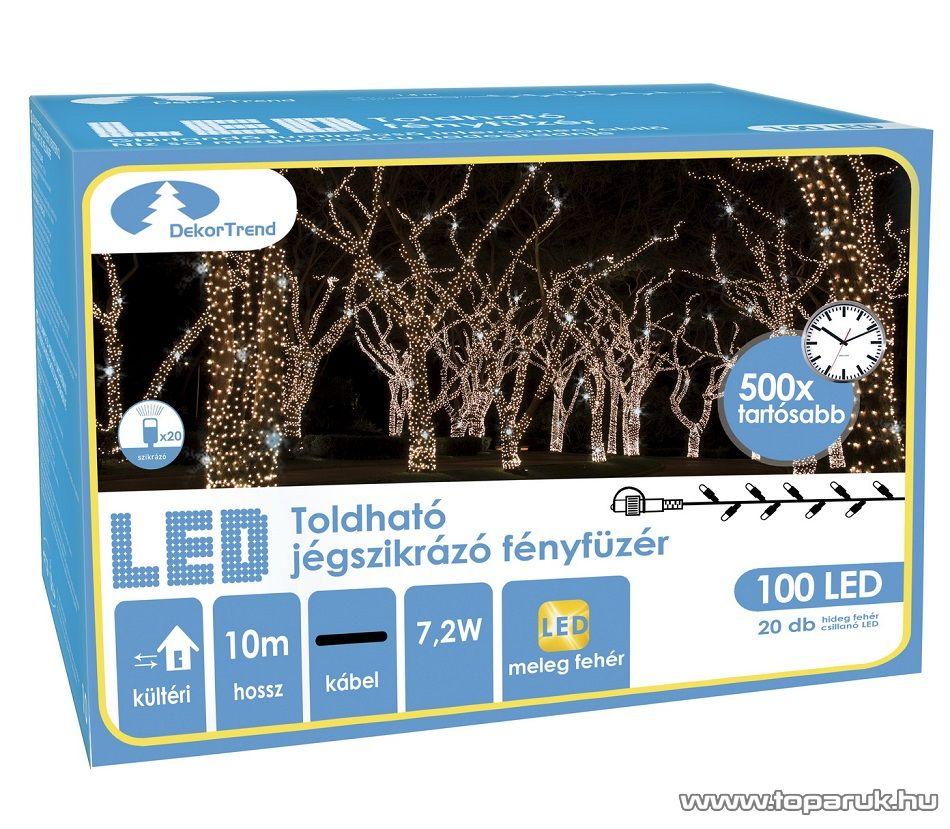 Design Dekor KDK 211 Kültéri toldható 100 LED-es jégszikrázó fényfüzér, 10 méter hosszú, meleg fehér fényű világítással, hideg fehéren csillanó LED-del