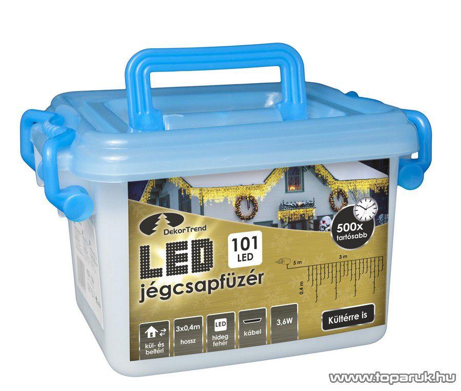 Design Dekor KDL 127 Kültéri LED-es jégcsap füzér, 300 x 40 cm, 101 db hideg fehér LED-del, fekete kábellel