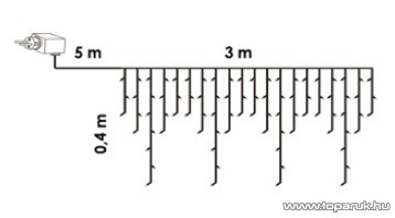 Design Dekor KDL 138 Kültéri 101 LED-es jégcsap füzér, 300 x 40 cm, 101 db meleg fehér LED-del, átlátszó vezetékkel