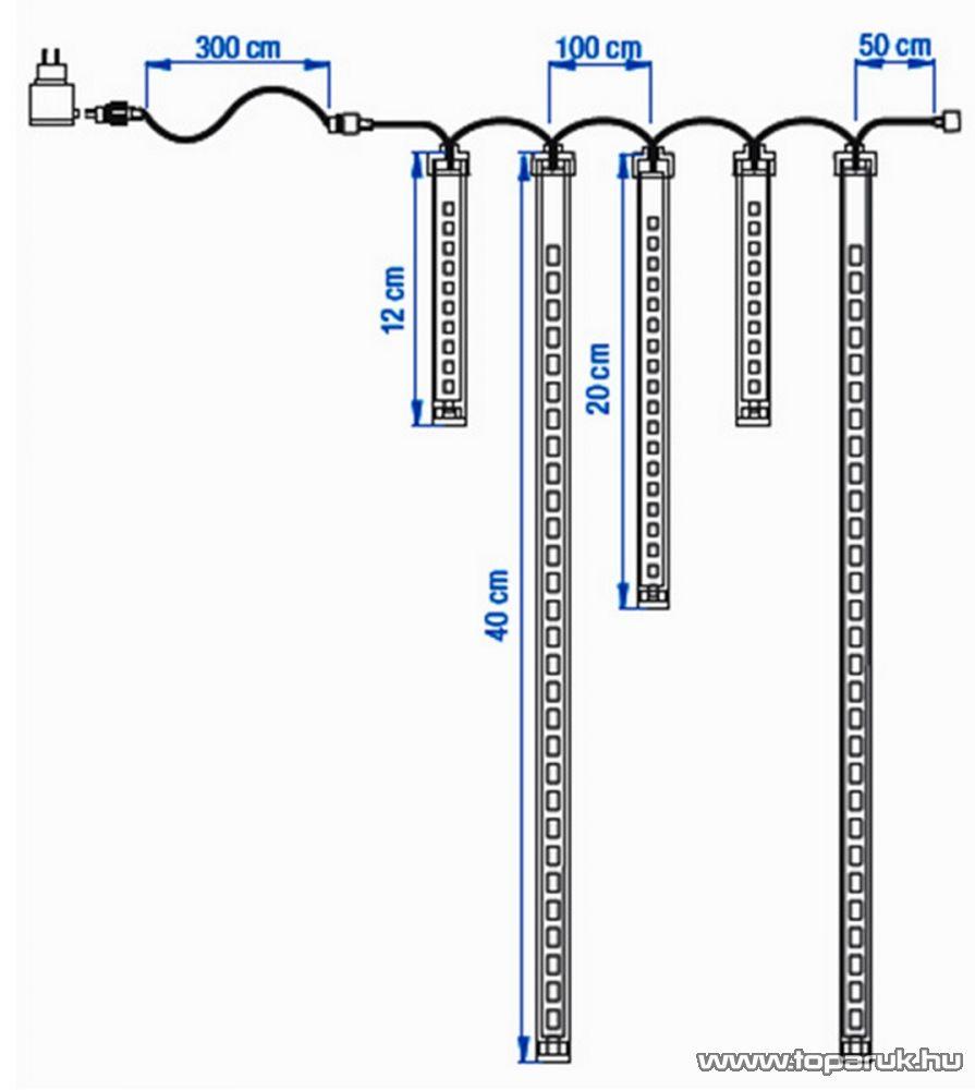 ICE DROP KMN 072 Kültéri toldható SMD LED-es hóesést imitáló világítás, 400x40 cm, 5 függő, hidegfehér - készlethiány