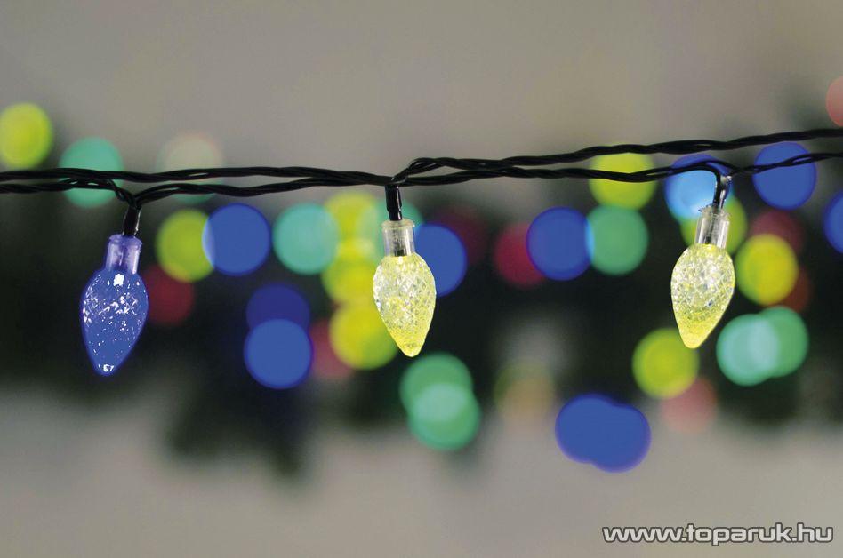 Design Dekor KDE 065 Kültéri 60 LED-es KRISTÁLYCSEPP fényfüzér, 12 m hosszú, zöld színű kábellel, színes (multi) világítással