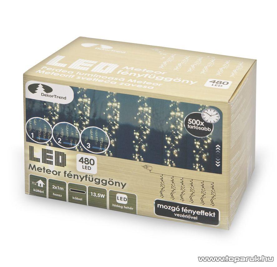 Design Dekor KDF 001 Kültéri LED-es METEOR FÉNYFÜGGÖNY mozgó fényeffekt funkció vezérlővel, 200 x 100 cm, 480 db hideg fehér LED-del