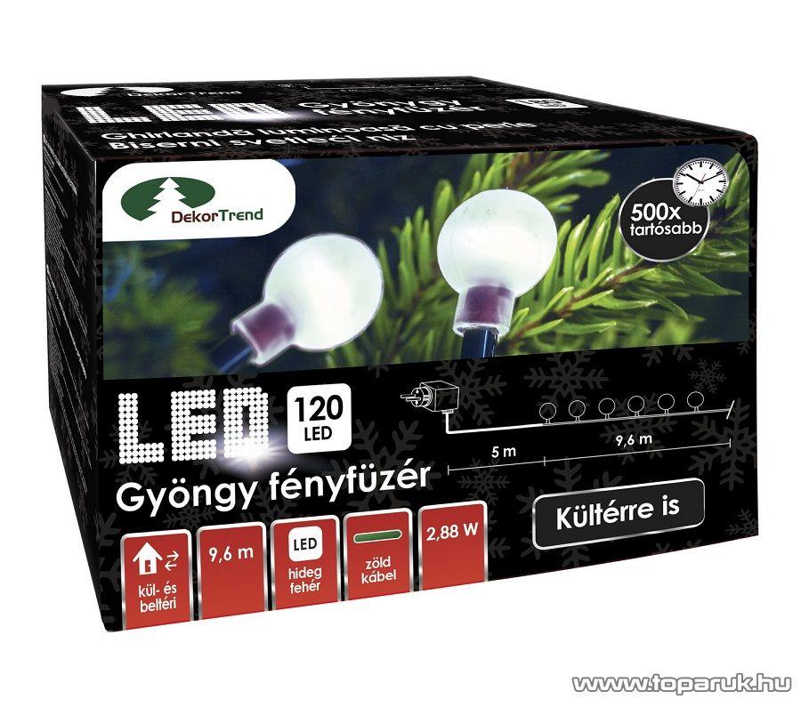 Design Dekor KDG 122 Kültéri design 120 LED-es GYÖNGY FÉNYFÜZÉR, 9,6 m hosszú, zöld színű kábellel, hideg fehér világítással