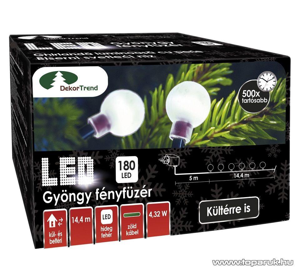 Design Dekor KDG 182 Kültéri design 180 LED-es gyöngy fényfüzér, 14,4 m hosszú, zöld színű kábellel, hideg fehér világítással