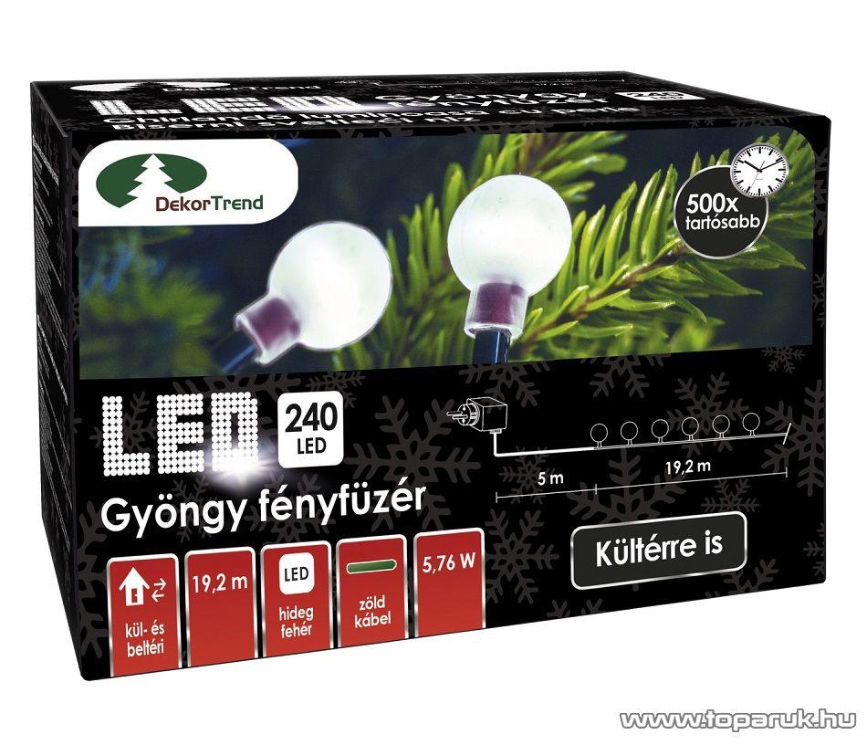 Design Dekor KDG 242 Kültéri design 240 LED-es GYÖNGY FÉNYFÜZÉR, 19,2 m hosszú, zöld színű kábellel, hideg fehér világítással