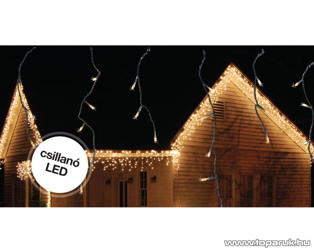 Design Dekor KDK 102 Kültéri toldható kontakt LED-es JÉGSZIKRÁZÓ JÉGCSAPFÜZÉR, 300 x 40 cm, 101 db melegfehér LED-del