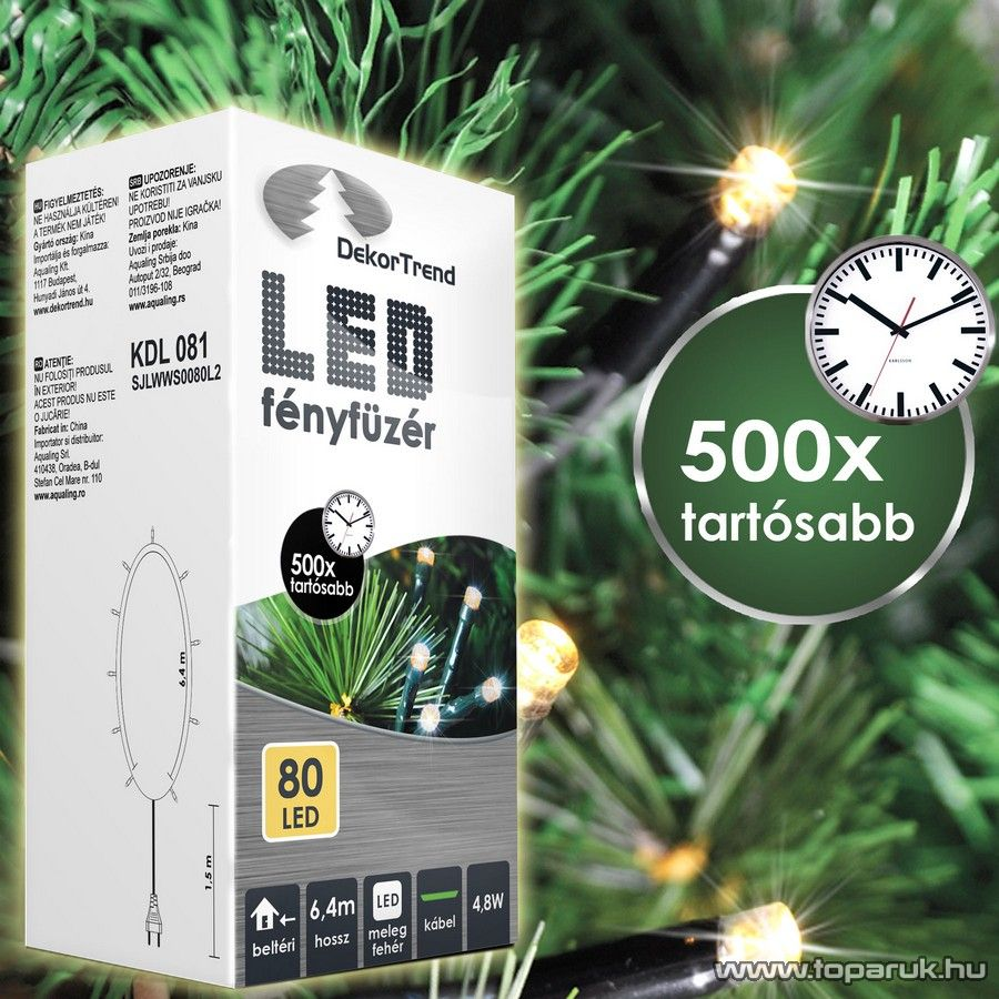 Design Dekor KDL 081 Beltéri LED-es fényfüzér, 80 db melegfehér LED-del