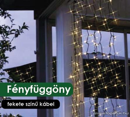 Design Dekor KDL 133 Kültéri 192 LED-es fényfüggöny, 90 x 200 cm, fekete kábellel, hideg fehér
