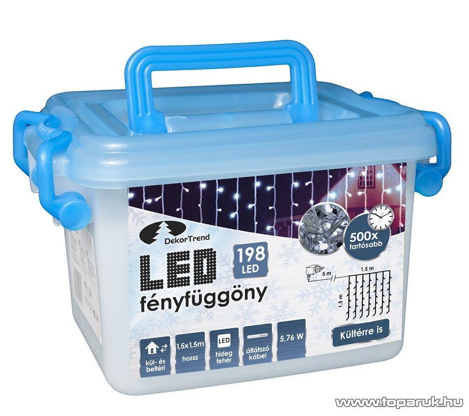 Design Dekor KDL 143 Kültéri 198 LED-es fényfüggöny, 150 x 150 cm, átlátszó kábellel, hideg fehér