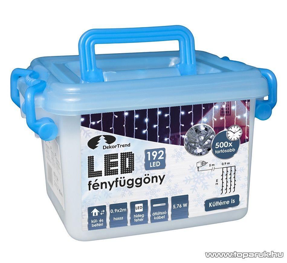 Design Dekor KDL 145 Kültéri 192 LED-es fényfüggöny, 90 x 200 cm, átlátszó kábellel, hideg fehér