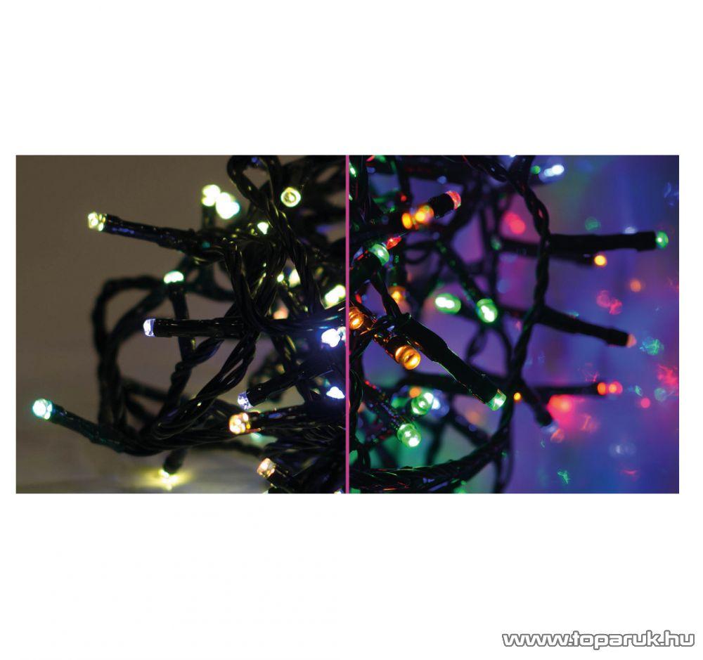 Design Dekor KDM 122 Kültéri 120 LED-es SZÍNVÁLTÓS FÉNYFÜZÉR, 9,6 m hosszú, zöld színű kábellel, színes (multi) világítással
