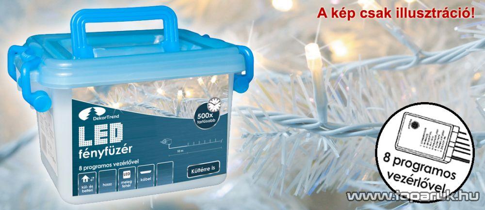 Design Dekor KDVF 123 Kültéri vezérlős LED-es fényfüzér, 8 program, 6 m, fehér kábellel, 120 db hideg kék LED-del