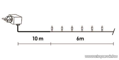Design Dekor KDV 121 Kültéri vezérlős LED-es fényfüzér, 8 program, 6 m, fekete kábellel, 120 db melegfehér LED-del