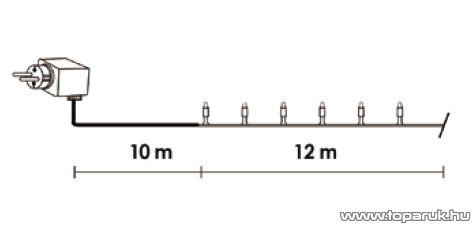 Design Dekor KDV 241 Kültéri vezérlős LED-es fényfüzér, 8 program, 12 m, fekete kábellel, 240 db melegfehér LED-del