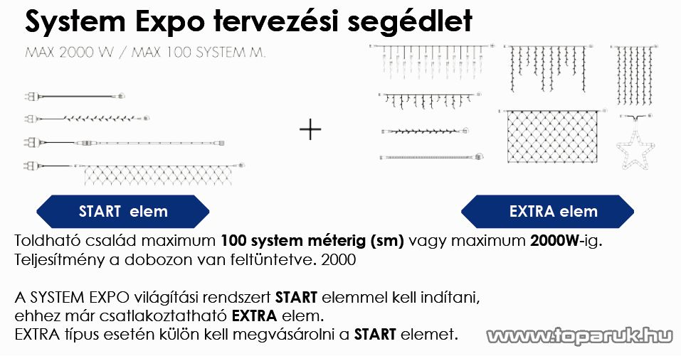 SYSTEM EXPO KSE 141 Kültéri toldható kivitelű szakaszelem - micro égős csillag fénycső EXTRA, 55 cm, fehér