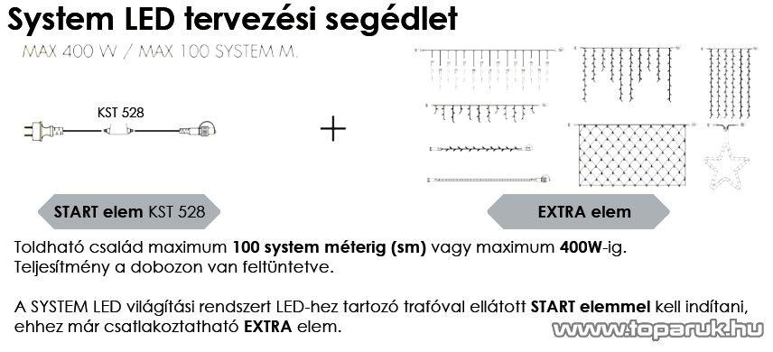 SYSTEM LED KST 549 Kültéri toldható LED-es jégcsapfüzér EXTRA, 3x0,4m, kék