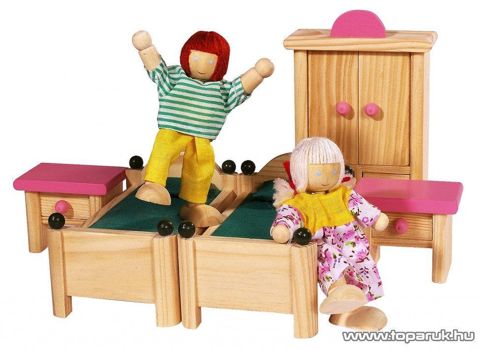 Eichhorn Kétszintes fa babavilla, babaház bútorokkal és babákkal (100002513) - készlethiány