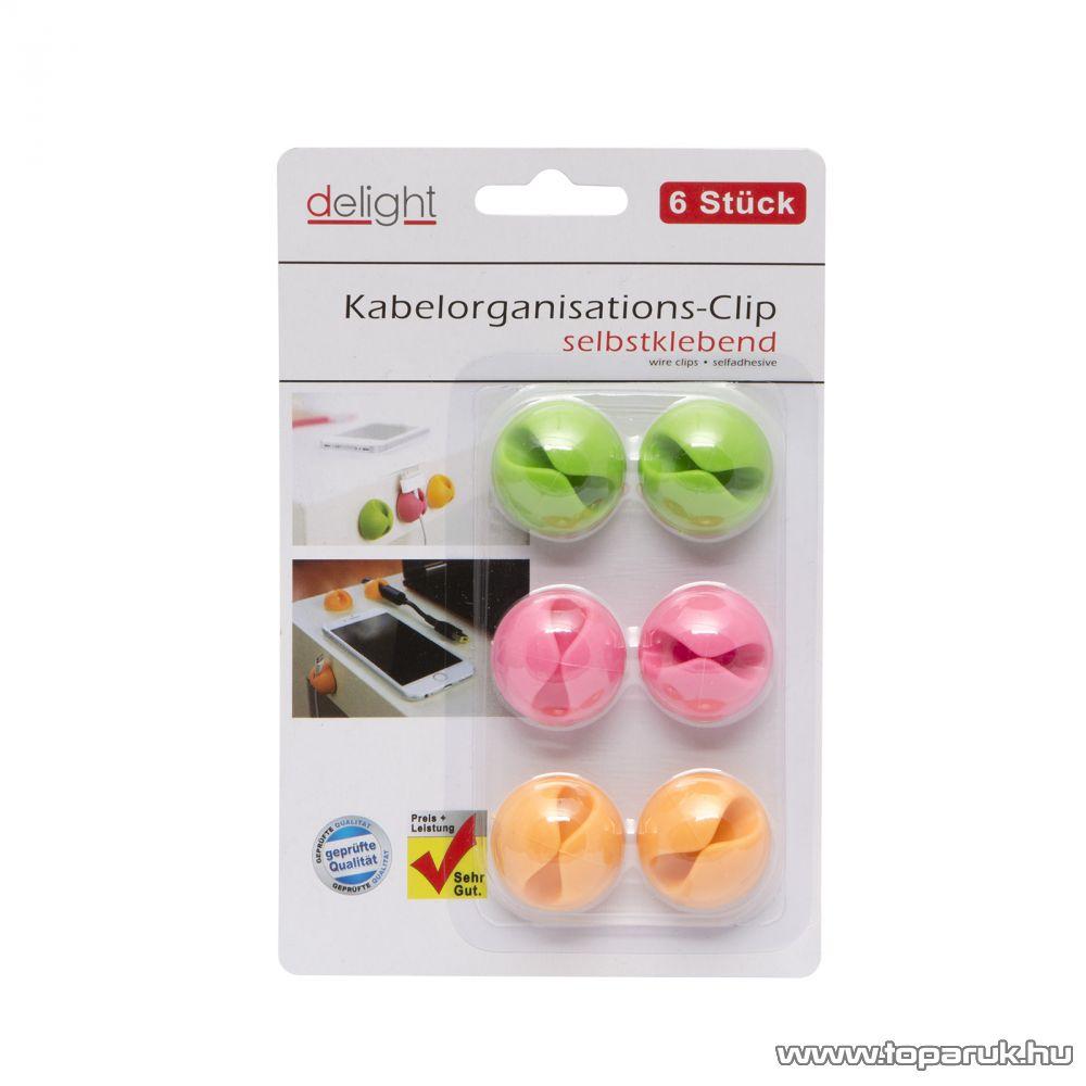 Delight 05555 Vezetékrögzítő, színes, öntapadós, 6 db / csomag