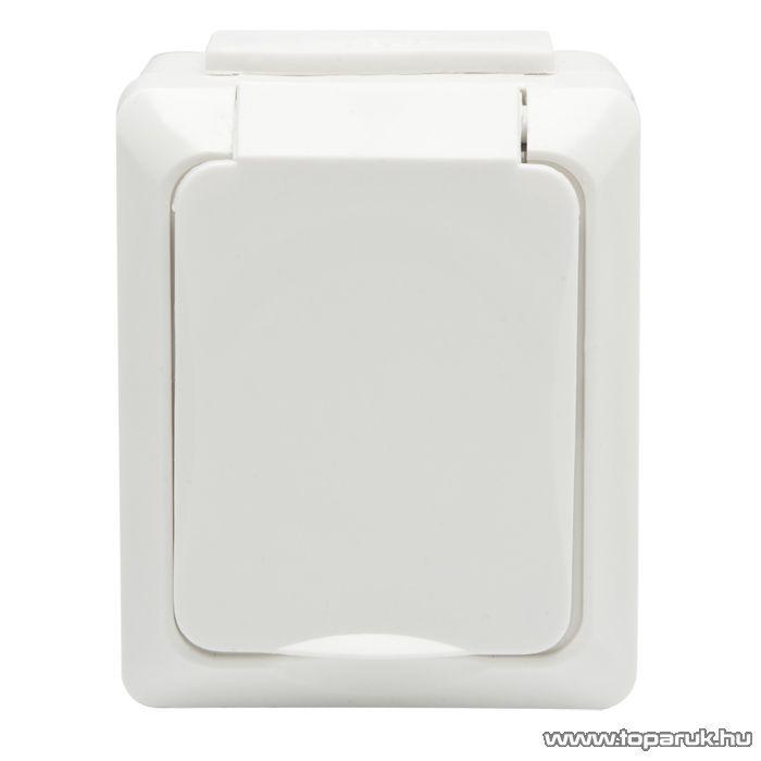 Falon kívüli kültéri 1-es dugalj csapófedéllel földelt, fehér, gyerekzár, IP54, 230V, 50Hz, 16A (05928) - készlethiány