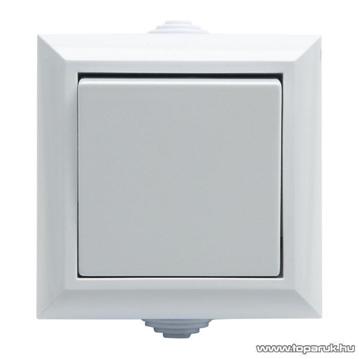Falon kívüli kültéri nyomókapcsoló, fehér, IP54, 230V, 50Hz, 10A (05933)