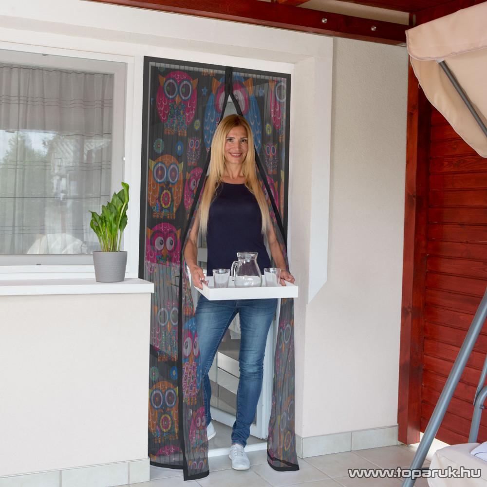 Mosható szúnyogháló függöny ajtóra, mágnessel záródó, 100 x 210 cm (mágneses szúnyogháló), baglyos mintás