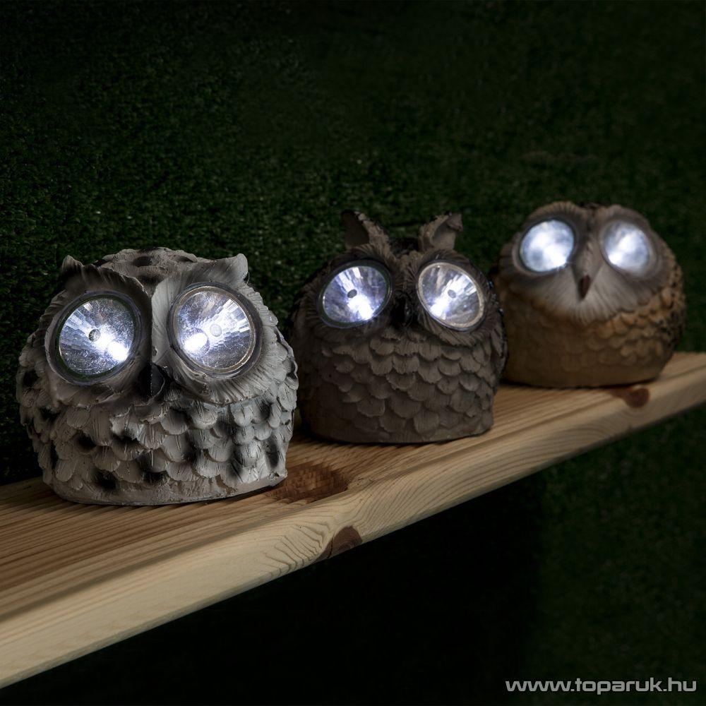 delight LED-es szolárlámpa, napelemes kerti lámpa, bagoly állatfigurával, 3 féle színben (11426A) - megszűnt termék: 2015. június