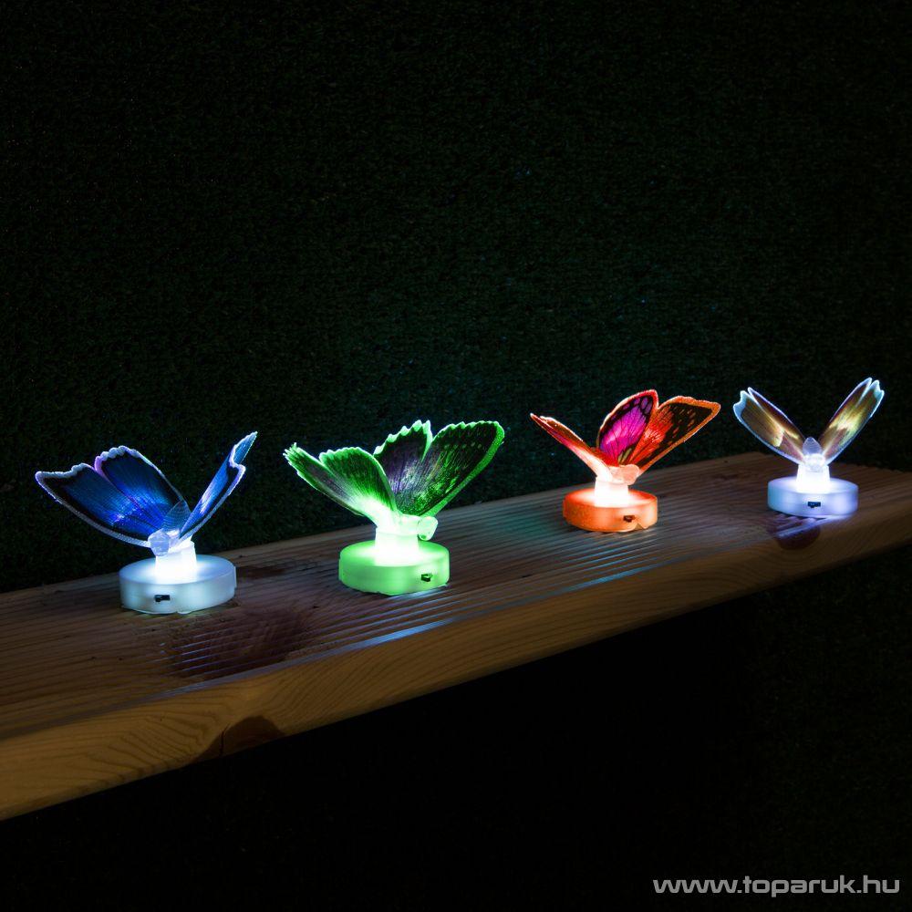 delight 11434 Beltéri elemes LED-es világító pillangó dísz, 1 db színváltós LED-del (5 féle pillangó dekoráció) - készlethiány