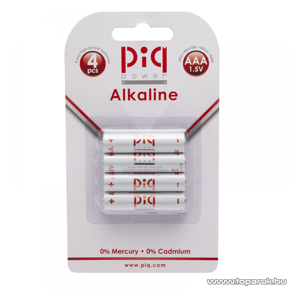 piq power LR03 alkaline tartós AAA Mikroceruza elem, 4 db / csomag (18412)