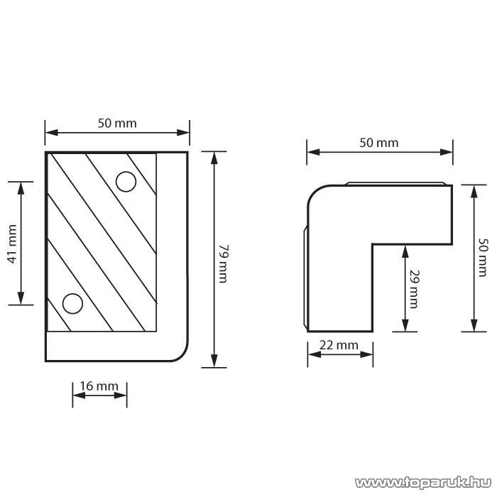 MNC Sarokvédő, hangfalsarok, 79 x 50 x 50 (29) mm, műanyag, 8 db / csomag (39305)