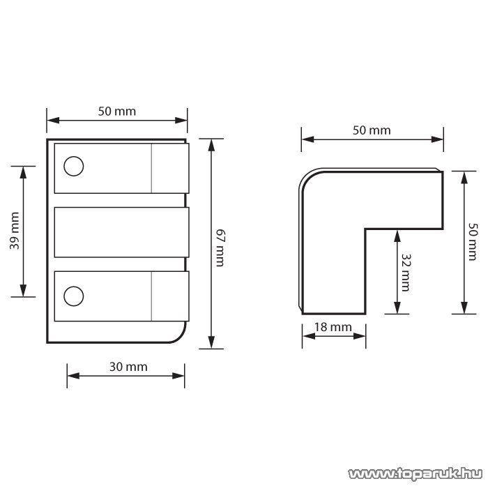 MNC Sarokvédő, hangfalsarok, 67 x 50 x 50 (32) mm , műanyag, 8 db / csomag (39306) - készlethiány