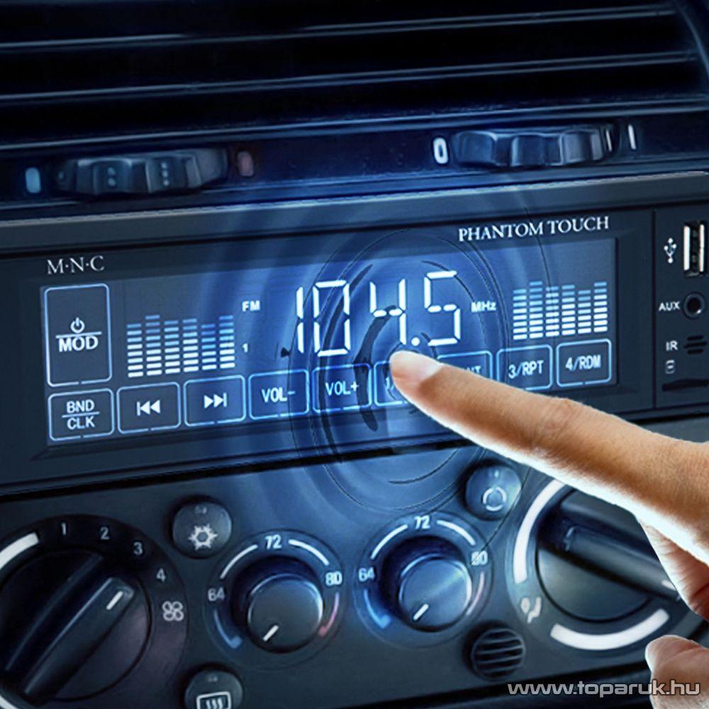 M.N.C MP3-as érintő kijelzős autórádió USB/MSD/MMC/AUX bemenettel, fekete (39713)