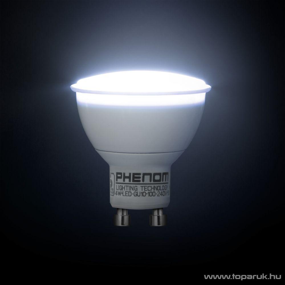 Phenom Led-es energiatakarékos izzó, 4W-os, GU10 foglalatba, hideg fehér fényű (40020C)