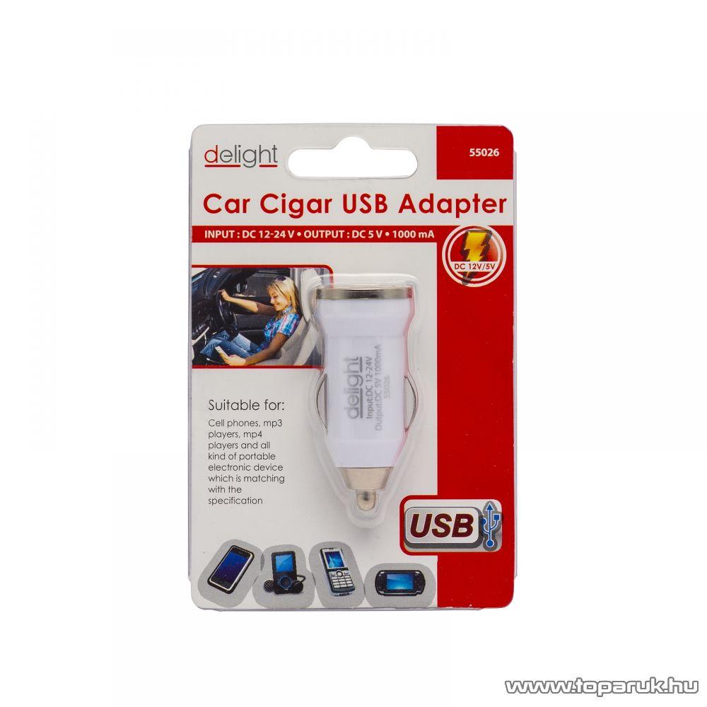 Delight Autós szivargyújtó adapter USB aljzattal, fehér (55026WH)