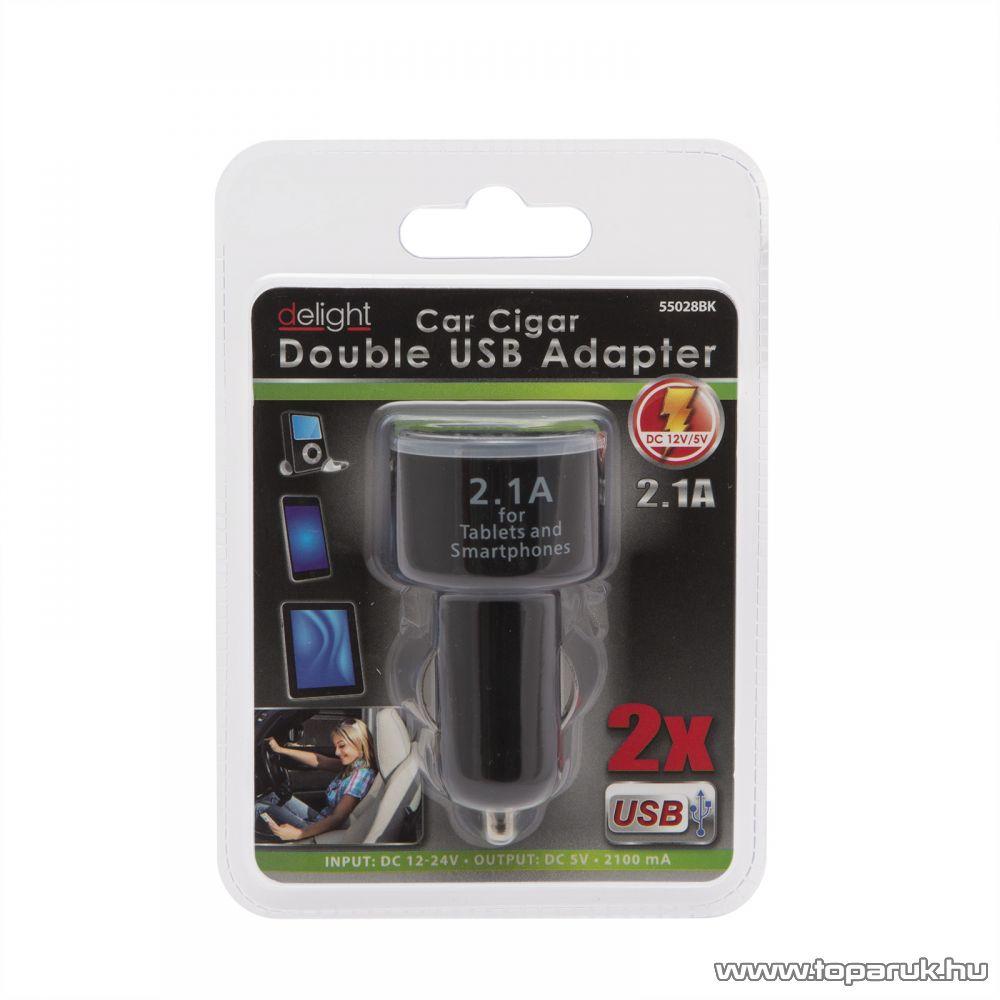 Autós szivargyújtó adapter 2 USB aljzattal, fekete