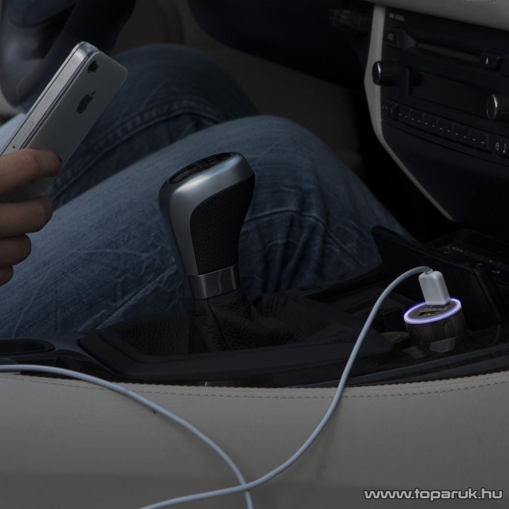 Autós szivargyújtó adapter 2 USB aljzattal, pink (rózsaszín)
